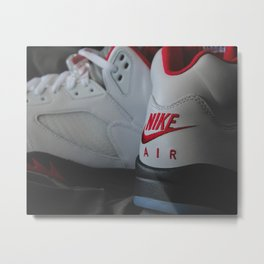 "Air Jordan ""Fire Red"" 2020 - Print 5 Metal Print"