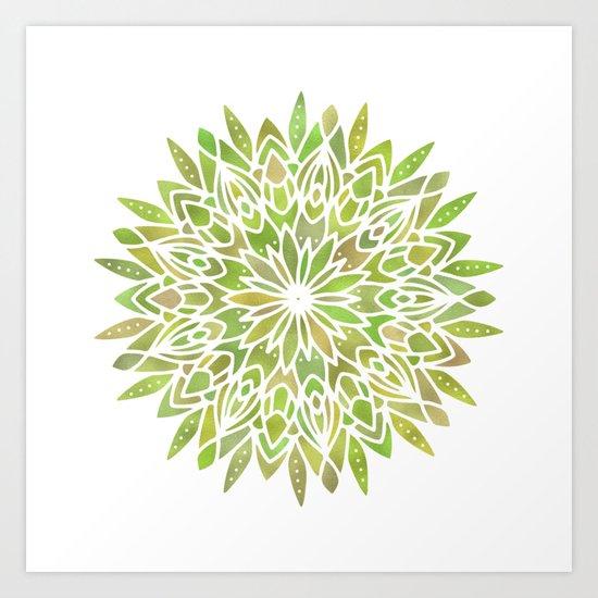 Mandala Desert Cactus Green Art Print