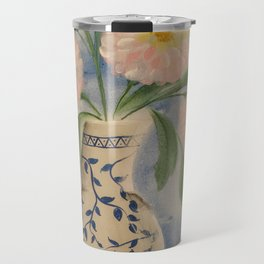 Peony in Blue Willow Vase Travel Mug