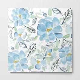 Blue flower garden watercolor Metal Print