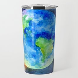 Watercolor painting of Earth Travel Mug
