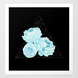 Blue Peonies (Black) Art Print