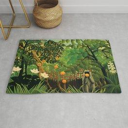 "Henri Rousseau ""Monkeys in the jungle - Exotic landscape"" Rug"