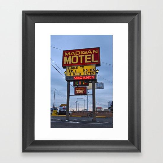 Classic motel sign Framed Art Print