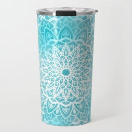 Blue Sky Mandala in Turquoise Blue and White Travel Mug