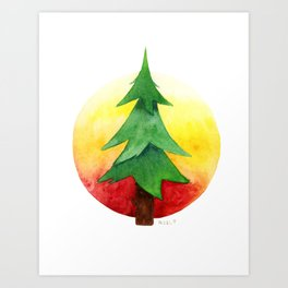 The Pine Guard Watercolor Logo Art Print