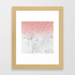 Rose Gold Glitter and white marmble Framed Art Print