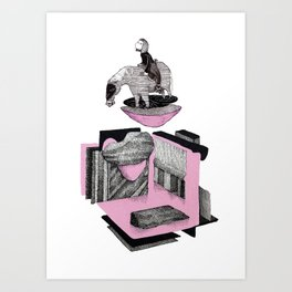 pink wild horse Art Print