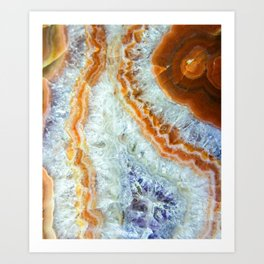 Crystalized Purple & Clear Quartz Slab with Orange Rust Art Print
