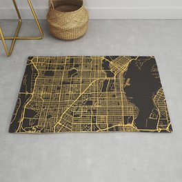 VANCOUVER CANADA GOLD ON BLACK CITY MAP Rug