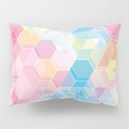 Hive: pink and blue hexagon pattern Pillow Sham