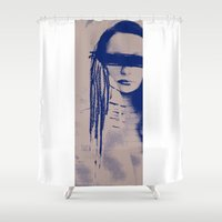 no face Shower Curtains featuring Face by Magdalena.S
