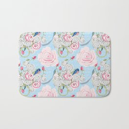 Bluebirds and Watercolor roses on pale blue with white French script Bath Mat