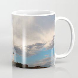 Cloudy day over Nubble Lighthouse Coffee Mug