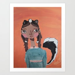 ~ Skunk~ 10 Year Old Amelia's Arizona Critter Girl Art Print