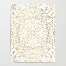 The Golden Mandala Illustration Pattern Poster