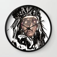 medicine Wall Clocks featuring Medicine Man by Adam Levene