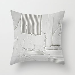 Relief [3]: an abstract, textured piece in white by Alyssa Hamilton Art  Throw Pillow