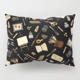Creative Artist Tools - Watercolor on Black Pillow Sham