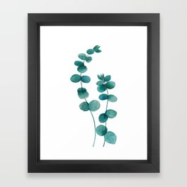 green eucalyptus watercolor Framed Art Print