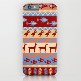 Inca Animals Fish and Birds Pattern iPhone Case