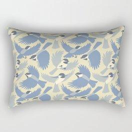 Chickadees  in Blue Rectangular Pillow