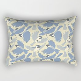 Chickadees  in Blue Rectangular Pillow