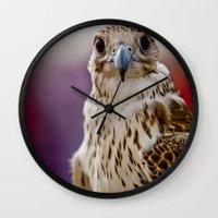 falcon Wall Clocks featuring Falcon  by Bader Al Awadhi
