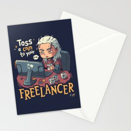 Toss a Coin to your Freelancer // Work from Home, Witcher Geralt Stationery Cards