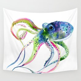 Blue Rainbow Octopus decor octopius lover gift Wall Tapestry
