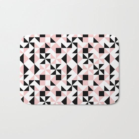 Eva - rose quartz quilt squares hipster retro geometric minimal abstract pattern print black pink Bath Mat