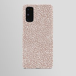 Little wild cheetah spots animal print neutral home trend warm dusty rose coral Android Case