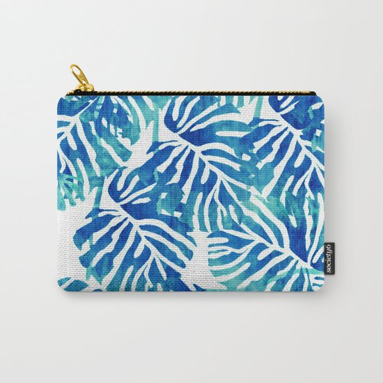 Tropical Leaves – Blue Abstract Carry-All Pouch