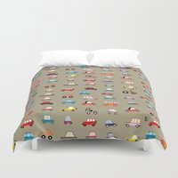 cars Duvet Covers featuring Cars by Marcelo Badari