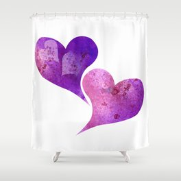 Purple and Pink hearts Shower Curtain