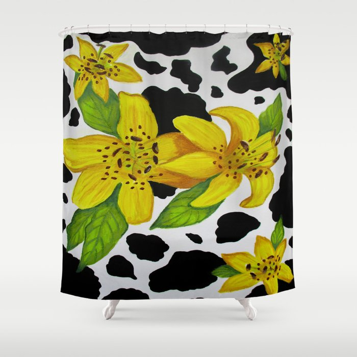 Floral Cow Print Shower Curtain