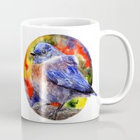 wesley bird Mugs featuring Bird by Anna Shell