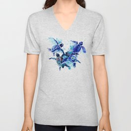 Sea Turtles, Marine Blue underwater Scene artwork Unisex V-Neck