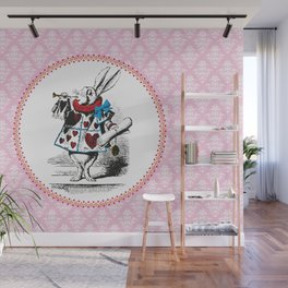 Alice in Wonderland | The Herald of the Court of Hearts | White Rabbit | Pink Damask Pattern | Wall Mural