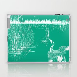 Oriental Exotic Heron & Boirds on a Lake Print - Emerald Green Laptop & iPad Skin