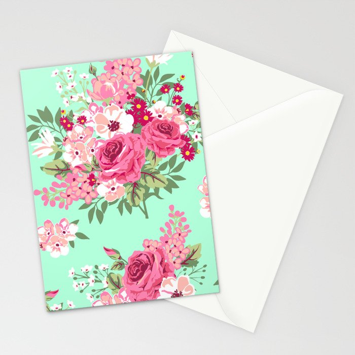 Cottage Chic Roses and Lilacs Floral in Aqua and Pink Stationery Cards