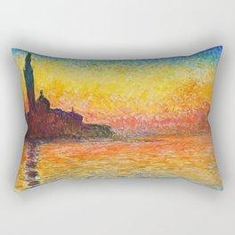 Claude Monet Sunset In Venice Rectangular Pillow
