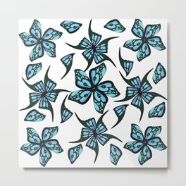 Fairy Wing Flowers with Tiny Skulls Metal Print