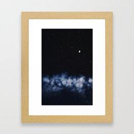 Contrail moon on a night sky Framed Art Print