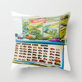1970 Hot Wheels Lineup Store Display Redline Poster Throw Pillow