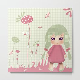 Kiwi Doll 'Mon jardin secret' Metal Print