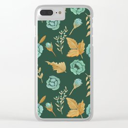 Watercolor floral turqiouse roses print Clear iPhone Case