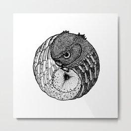 Yin Yang Owls Metal Print