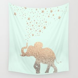 ELEPHANT - GOLD MINT Wall Tapestry