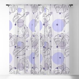 Monstera (Bubbles) - Lavender Sheer Curtain